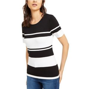 INC Black and White Short Sleeve Stripe Sweater